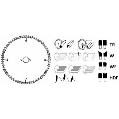 HM cirkelzaagblad Ø 250 voor afkortzaag 60 tanden WN